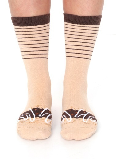 Socks+Stuff Chocolate Caramel Donut Çorap Bej